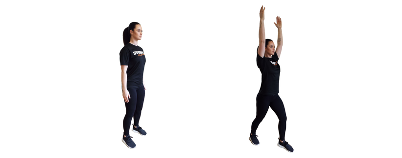 Posterior step with overhead reach