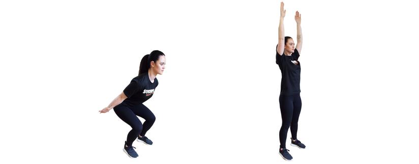 Squat to overhead arm swing